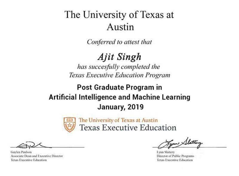 University of Texas Certificate